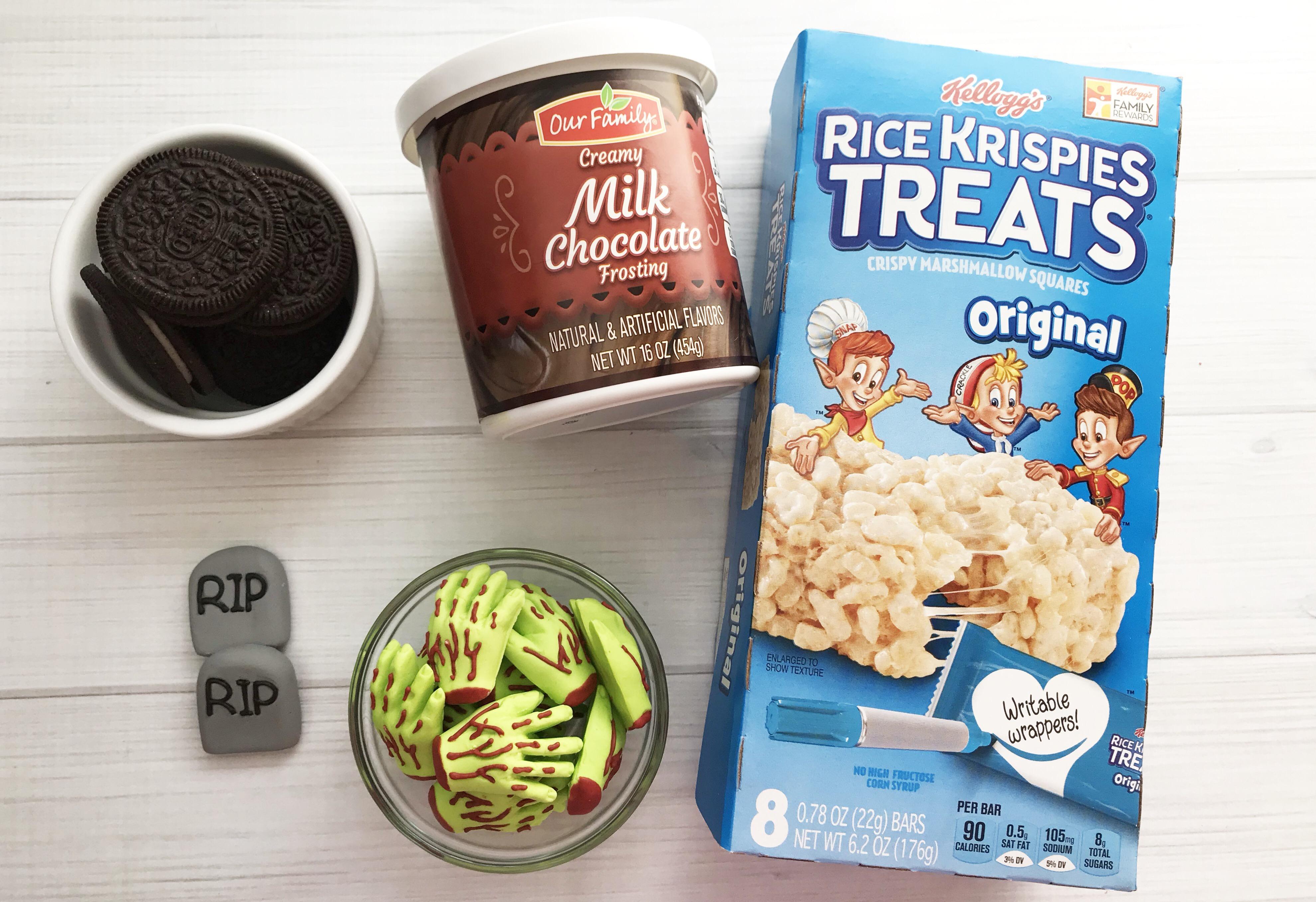 Ingredients needed to make easy and fun kids Rice Krispie treat Halloween treat