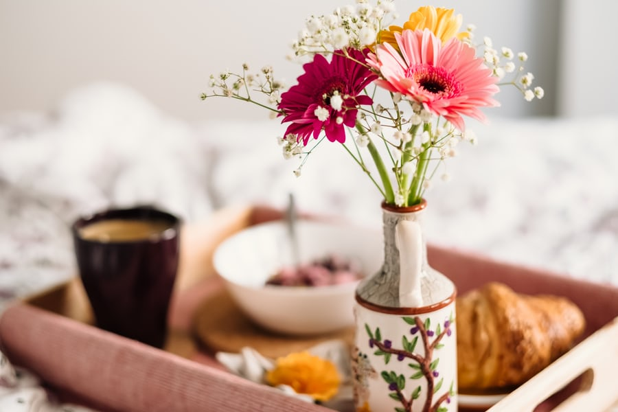 Celebrate your anniversary at home- breakfast in bed