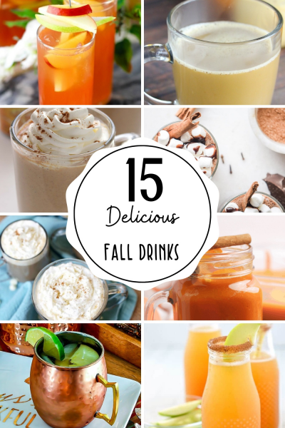 Collage of fall drinks