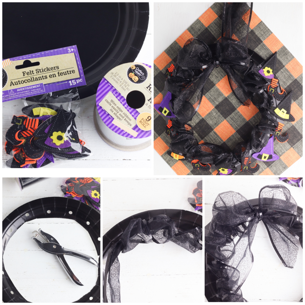 A step by step photo collage showing how to make a paper plate wreath for Halloween. Black plate and ribbon with witch hat stickers on a white background.