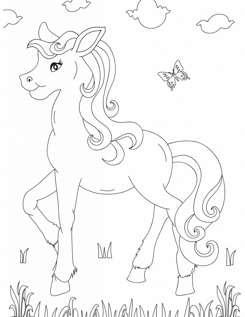 horse and a butterfly Fun Printables for Kids