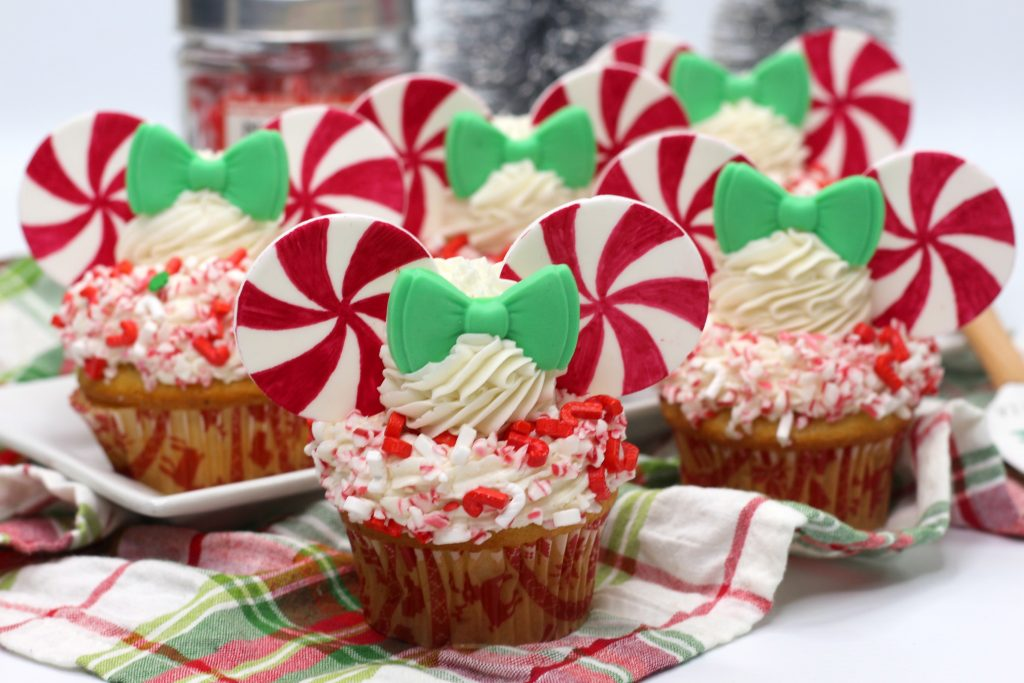 Minnie Mouse Peppermint Pinwheel Cupcakes