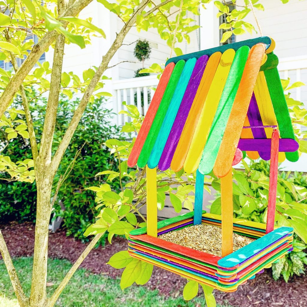 Popsicle-Stick-Birdhouse-Craft-scaled fun spring activities for kids