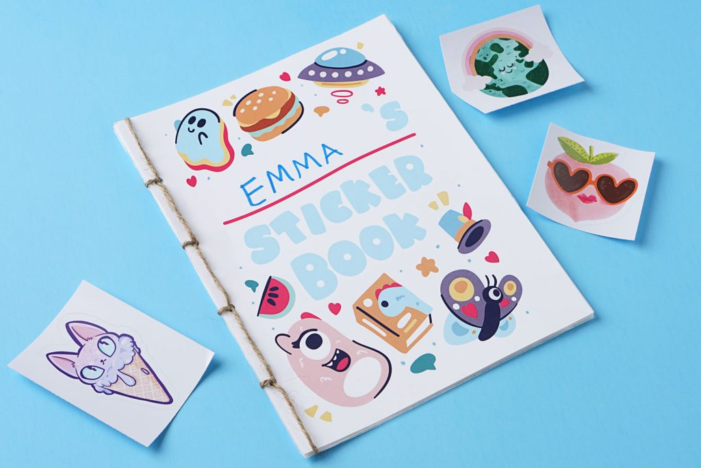 a diy sticker book with stickers