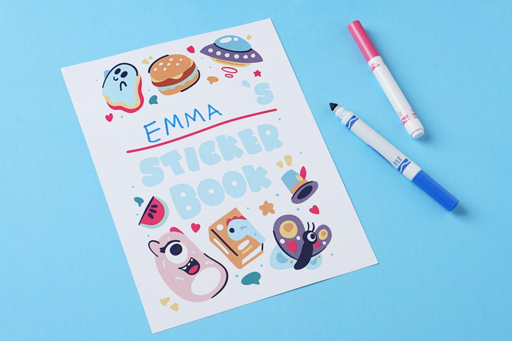 sticker book for kids and two pens