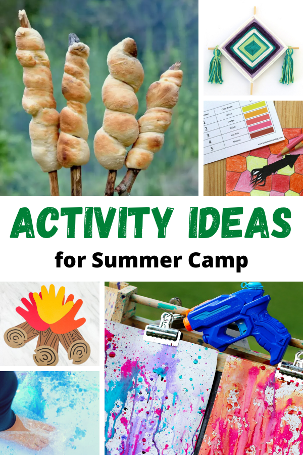 collage of Ideas for summer camp activities