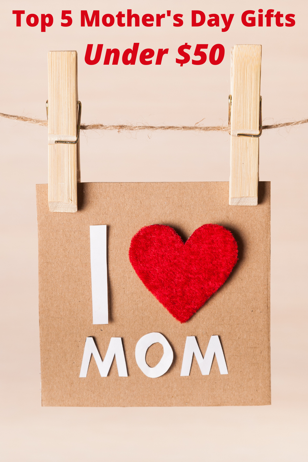 Mother's Day gifts card with heart and text cutout