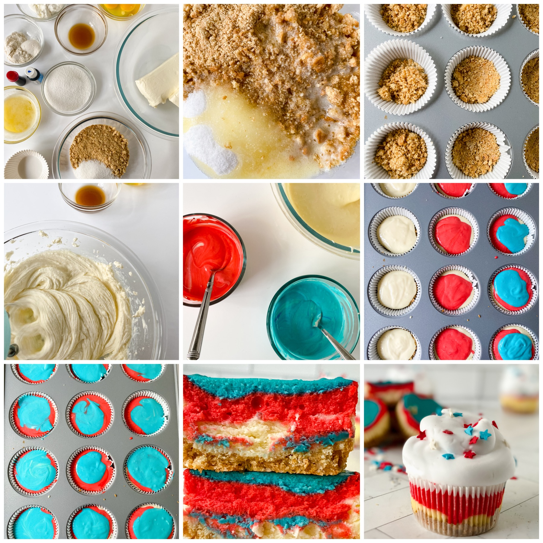 a collage of instructions on how to a bake cupcakes