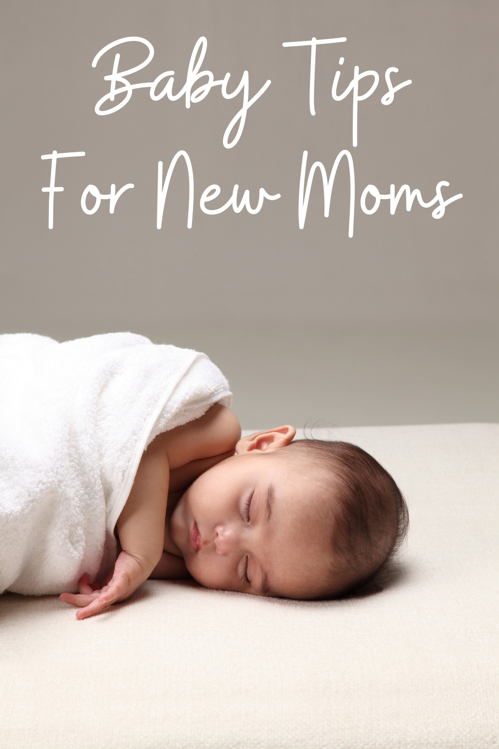 sleeping baby with text on image Baby tips for New Moms