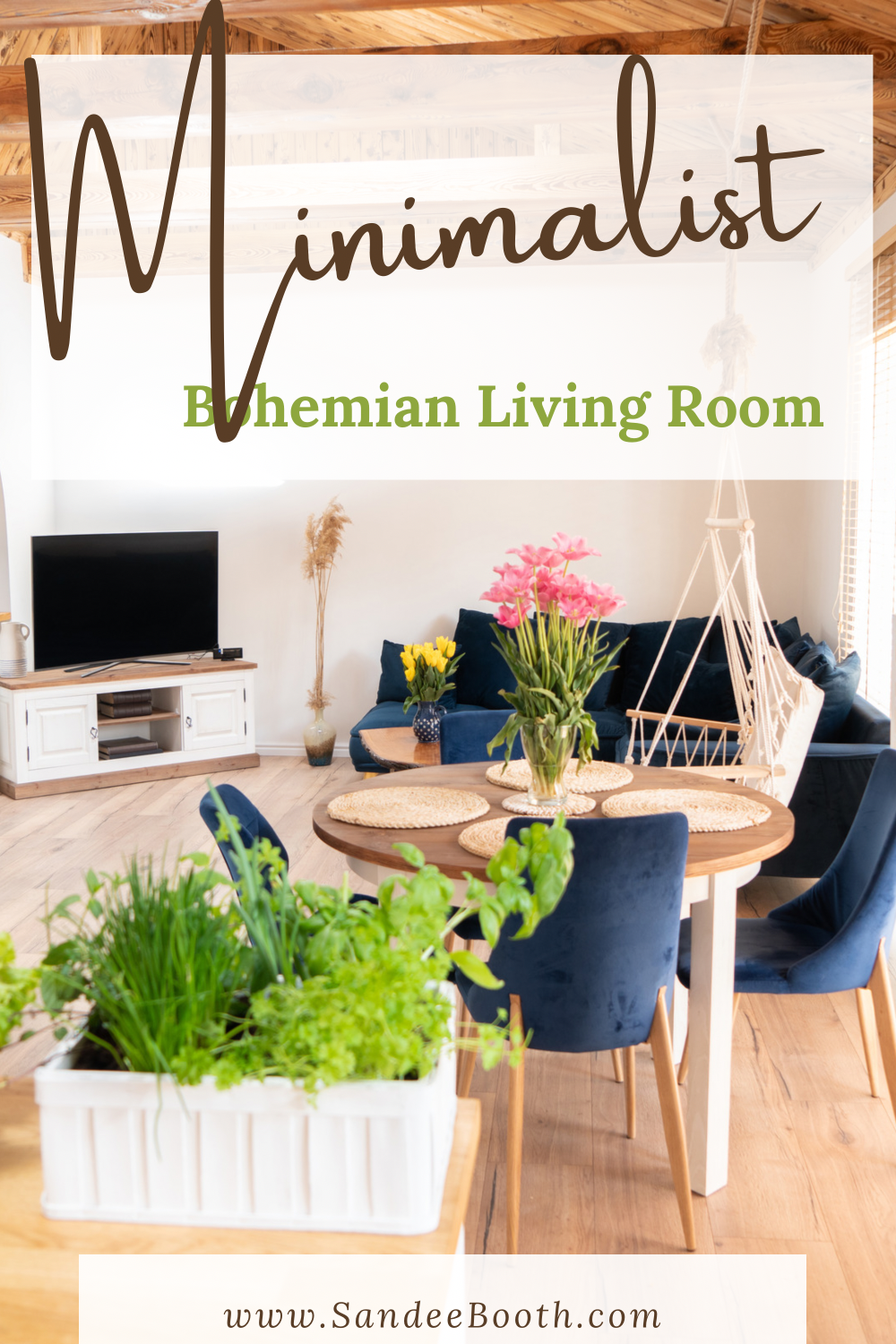 collage of interior and Minimalist Bohemian living room text