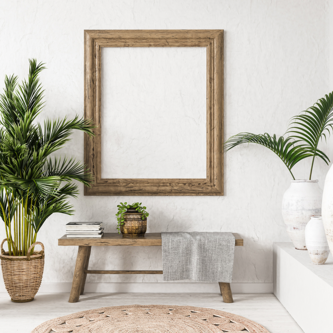 Minimalist Bohemian living Room with large frame, indoor plants, and table
