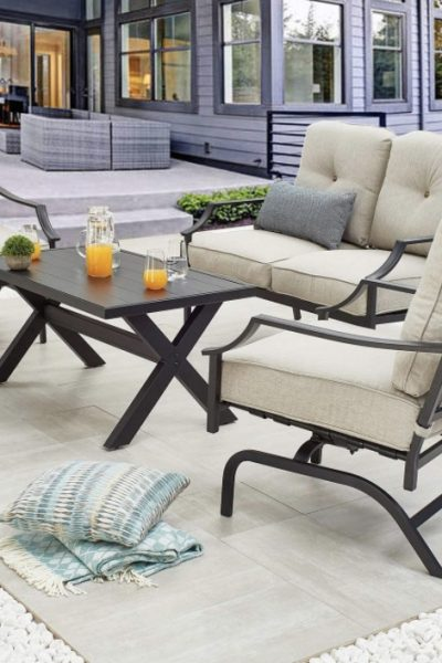 outdoor furniture with drinks on the table