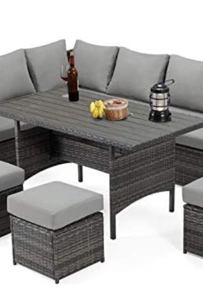 gray tables and chairs for the outdoors